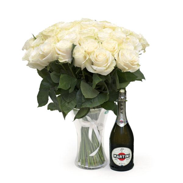 Valged roosid koos Martini Astiga M109