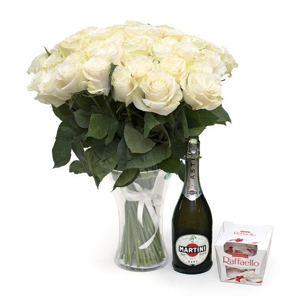 50 pikka valget roosi + asti + raffaello M110 M110